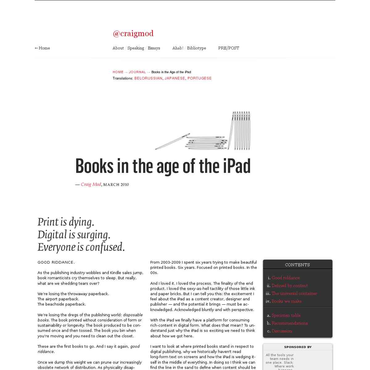 Crag Mood: Books in the age of iPad
