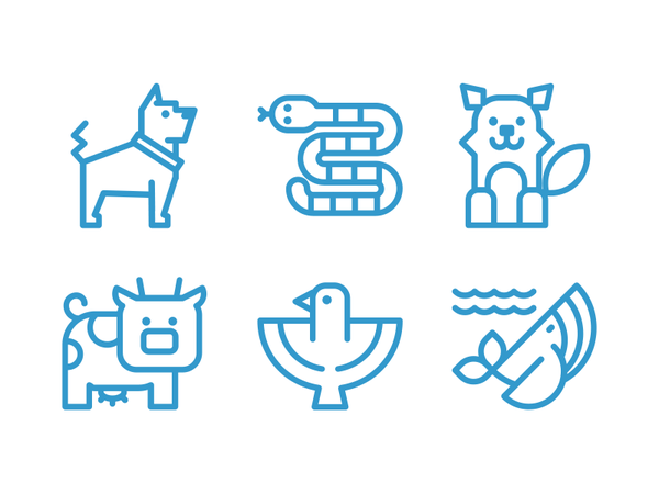 Animals And Pets Line Icons