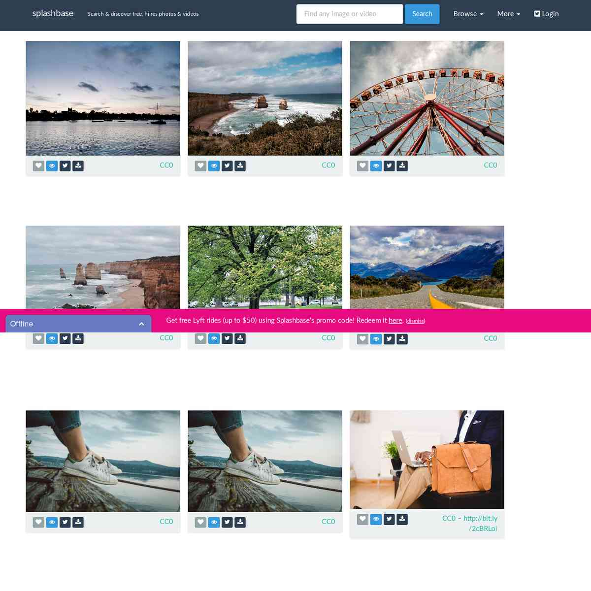 splashbase: find free, public domain, hi res photos