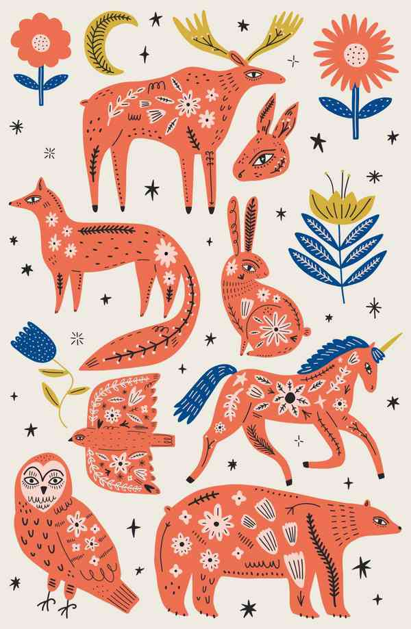 Scandinavian Ornate Animals Bundle