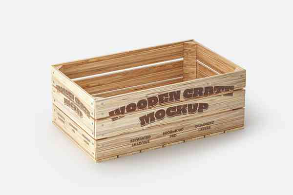 $ Wooden Crate Mockup