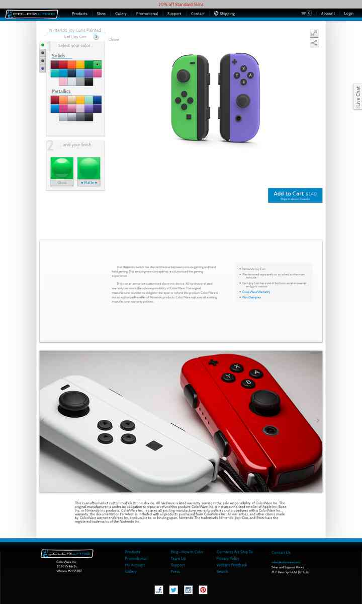Custom Nintendo Joy Cons | Solid White (not metallic), matte, regular bumpers