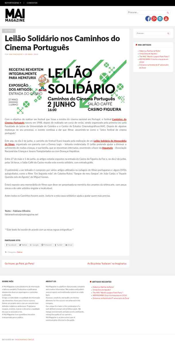Leilão Solidário nos Caminhos do Cinema Português | MAI Magazine