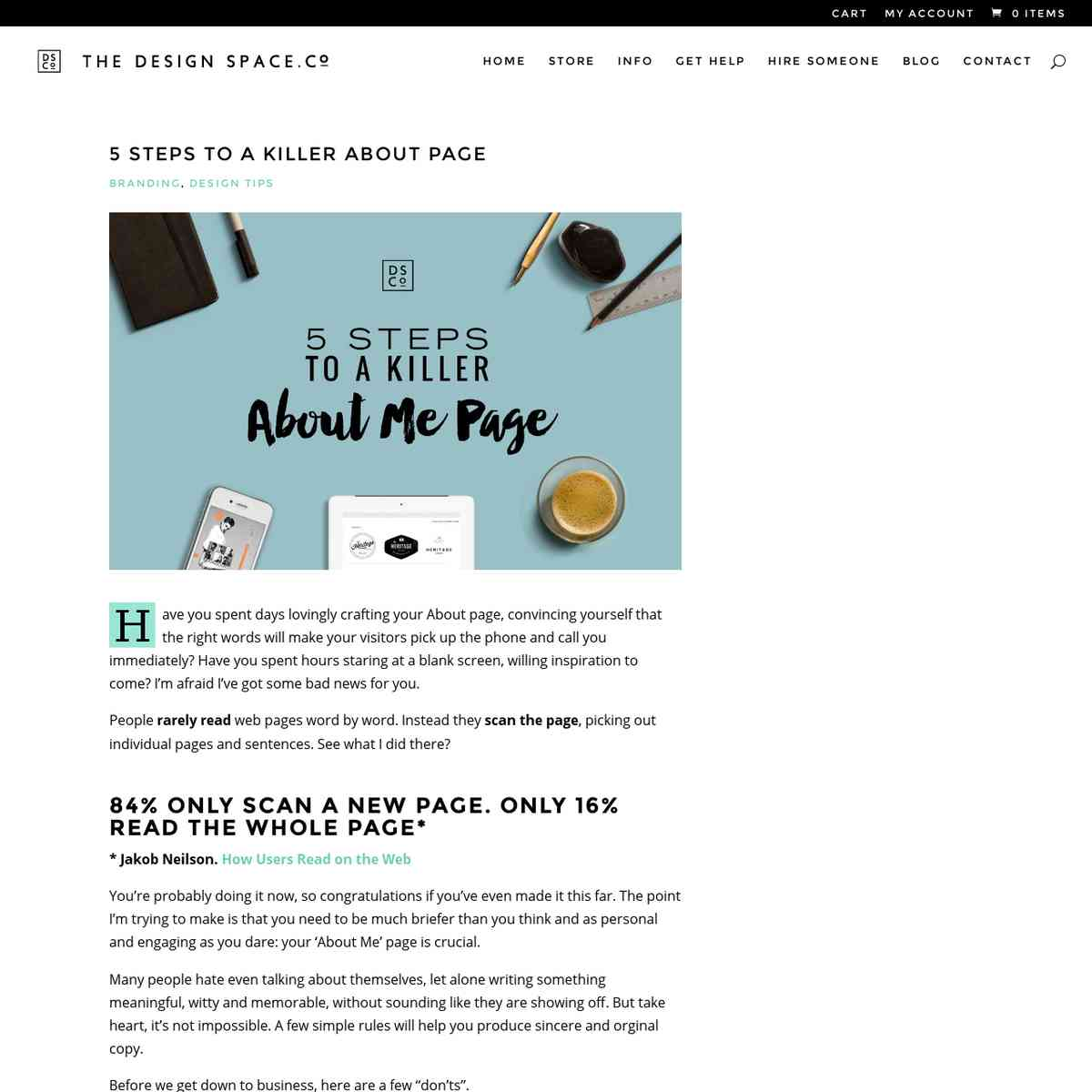 5 STEPS TO A KILLER ABOUT PAGE - THE DESIGN SPACE.co