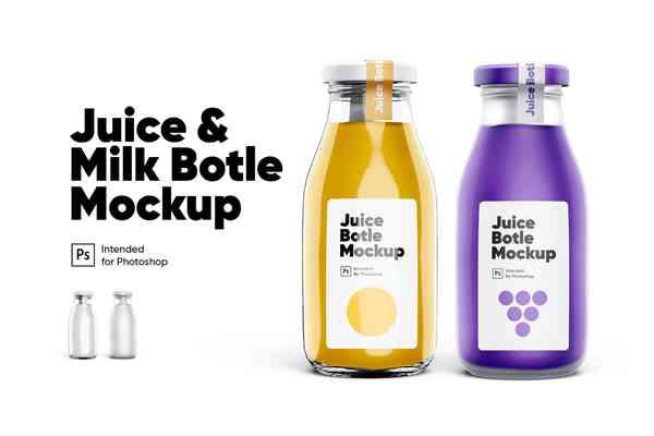$ Juice & Milk Bottles Mockup Set