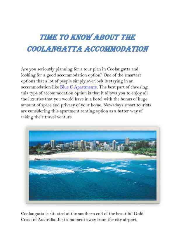 Details That You Must Know About Coolangatta Accomodation