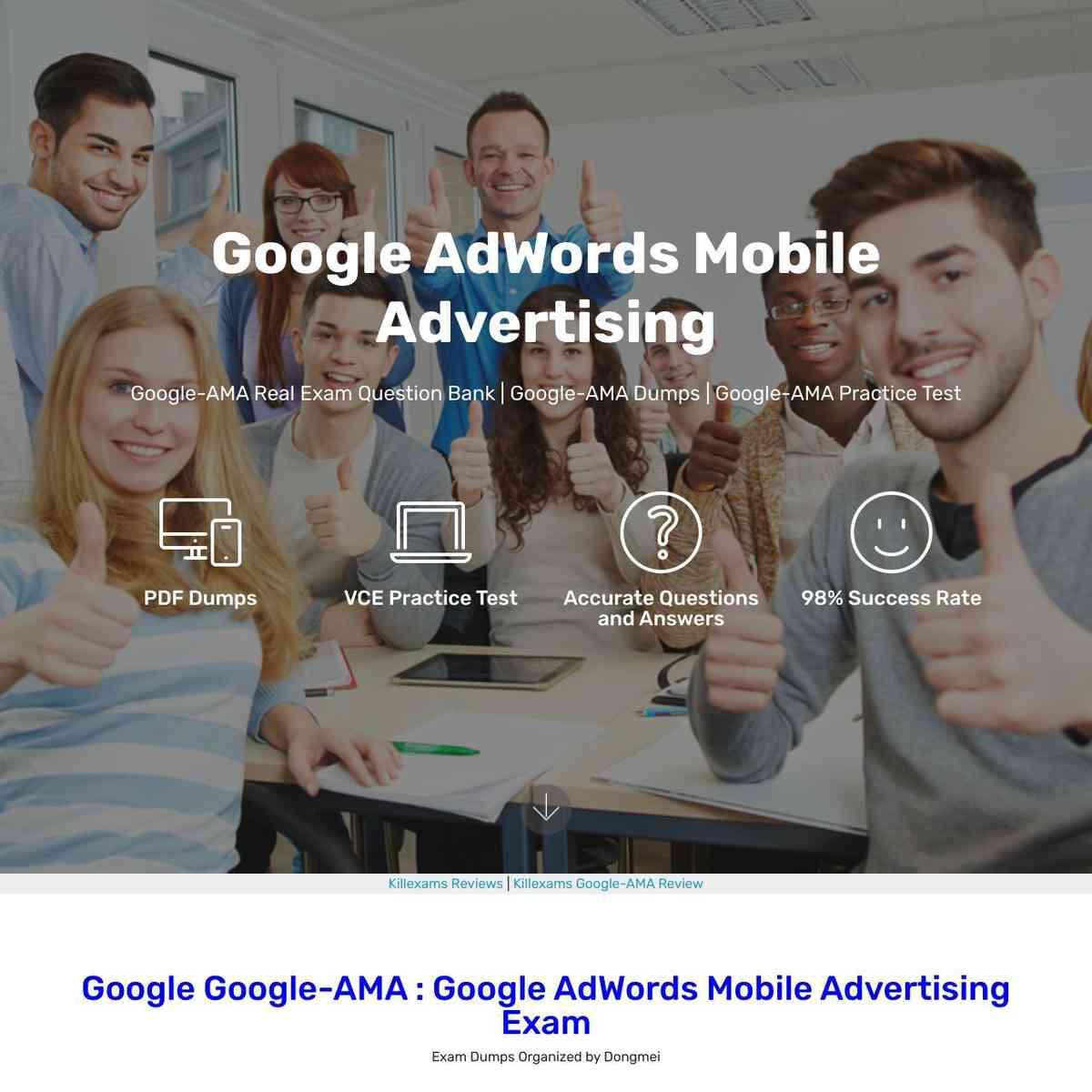 Pass4sure Google-AMA Google AdWords Mobile Advertising exam PDF Download