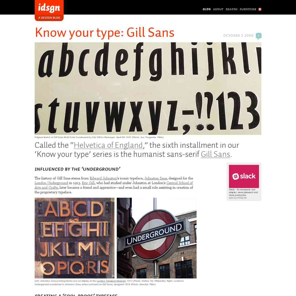 Know your type: Gill Sans