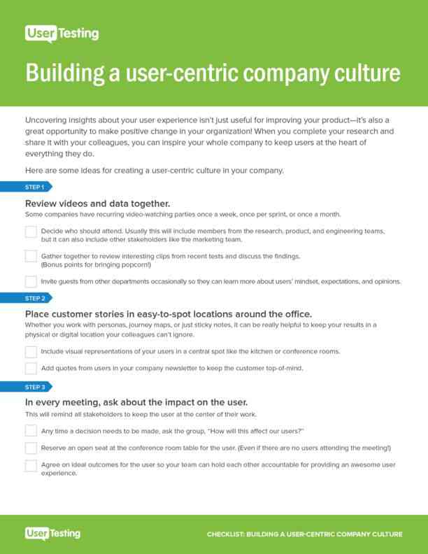 User Centered Culture