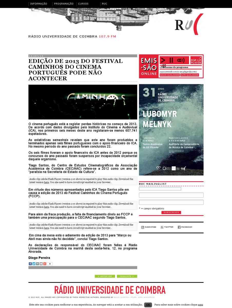 Edição de 2013 do Festival Caminhos do Cinema Português Pode Não Acontecer | RUC