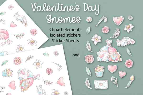 Valentines Day Gnomes Stickers