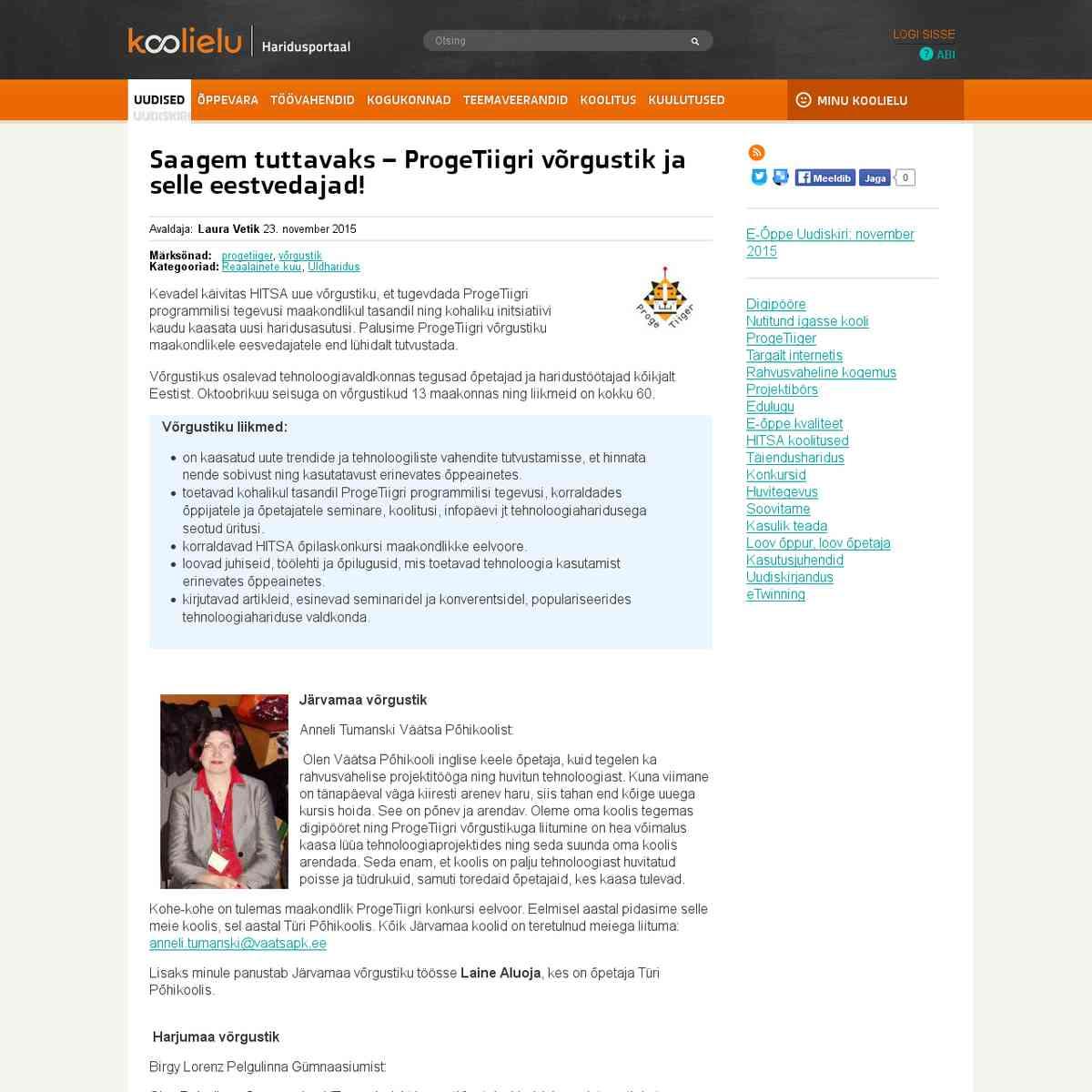 Saagem tuttavaks – ProgeTiigri võrgustik ja selle eestvedajad! : Koolielu