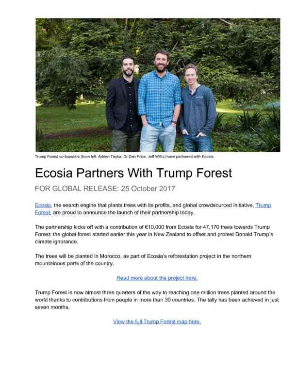Oct 2017 Ecosia partners with Trump Forest