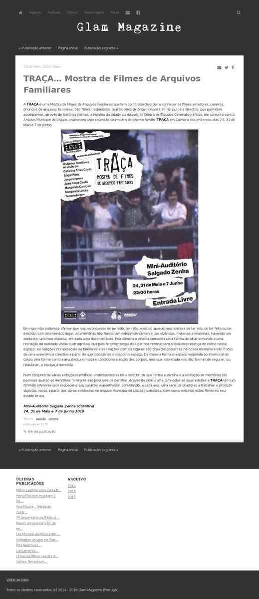 TRAÇA… Mostra de Filmes de Arquivos Familiares - Glam Magazine