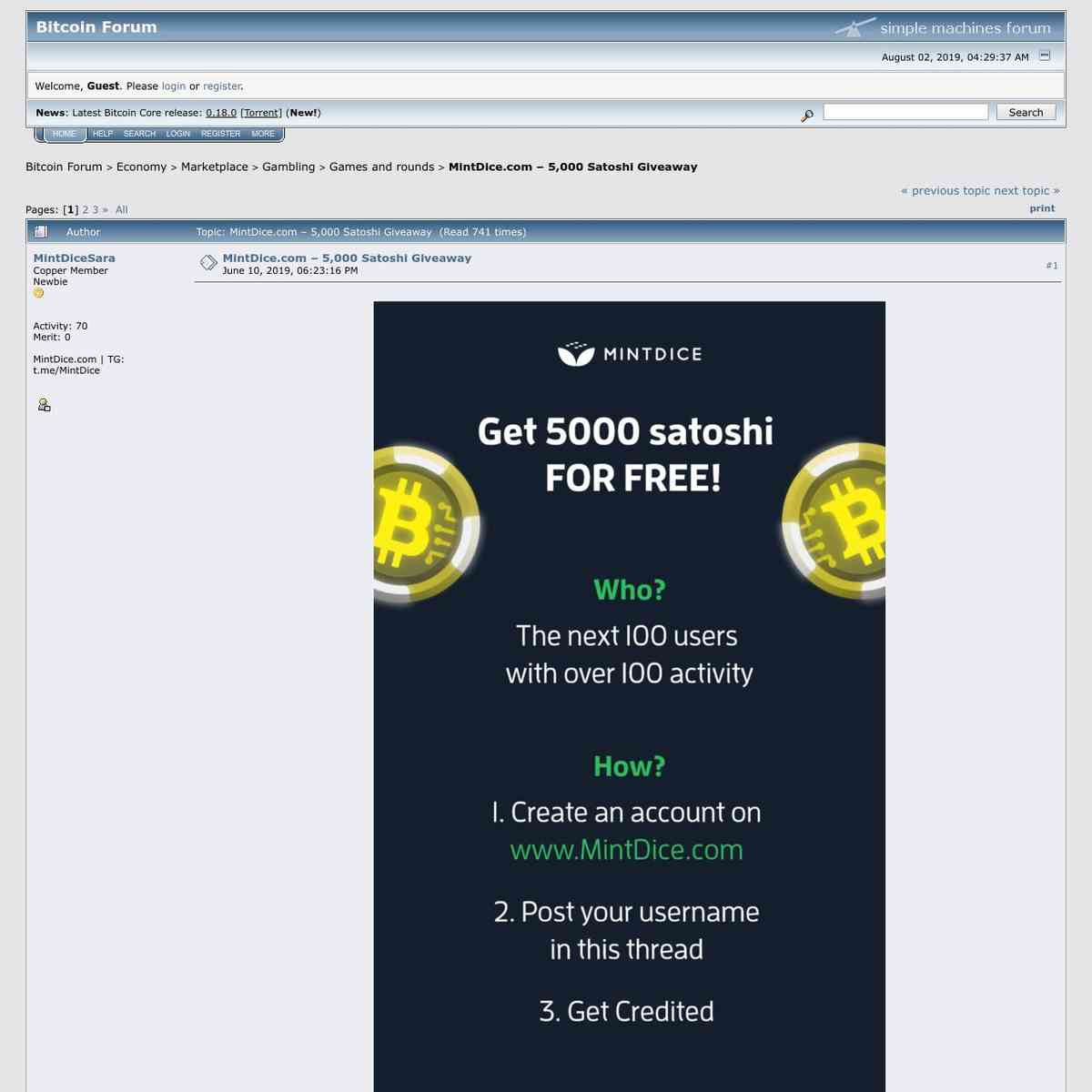 Cryptocurrench Forum Community Free 5,000 Satoshi GIveaway