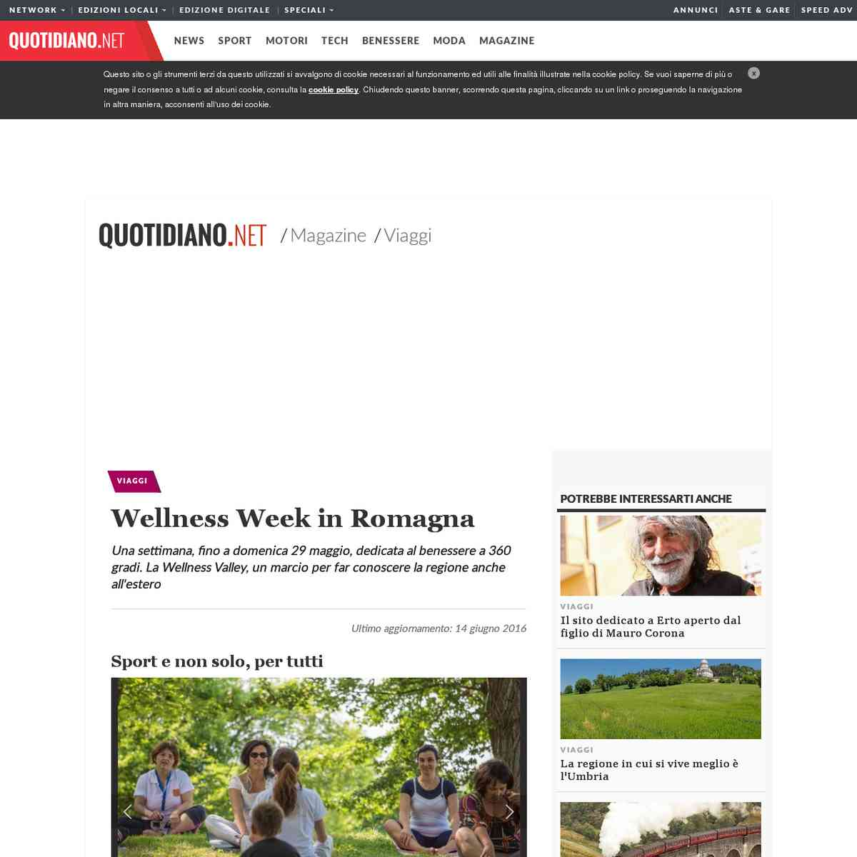 Wellness Week in Romagna - Quotidiamo.net - 20/05/2016