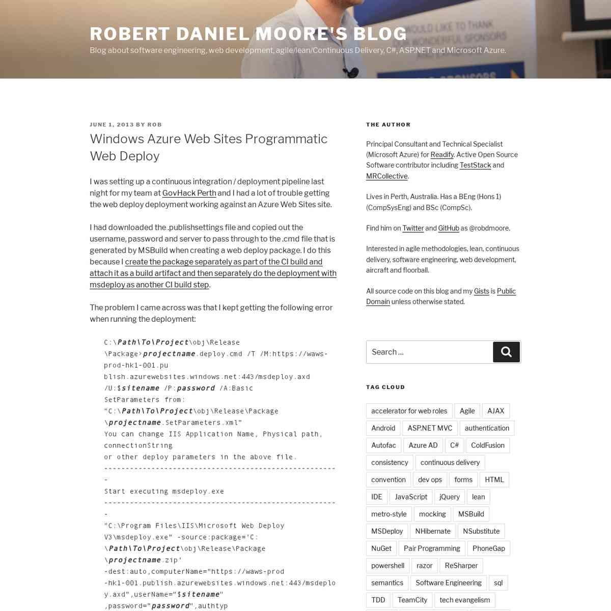 Windows Azure Web Sites Programmatic Web Deploy – Robert Daniel Moore's Blog