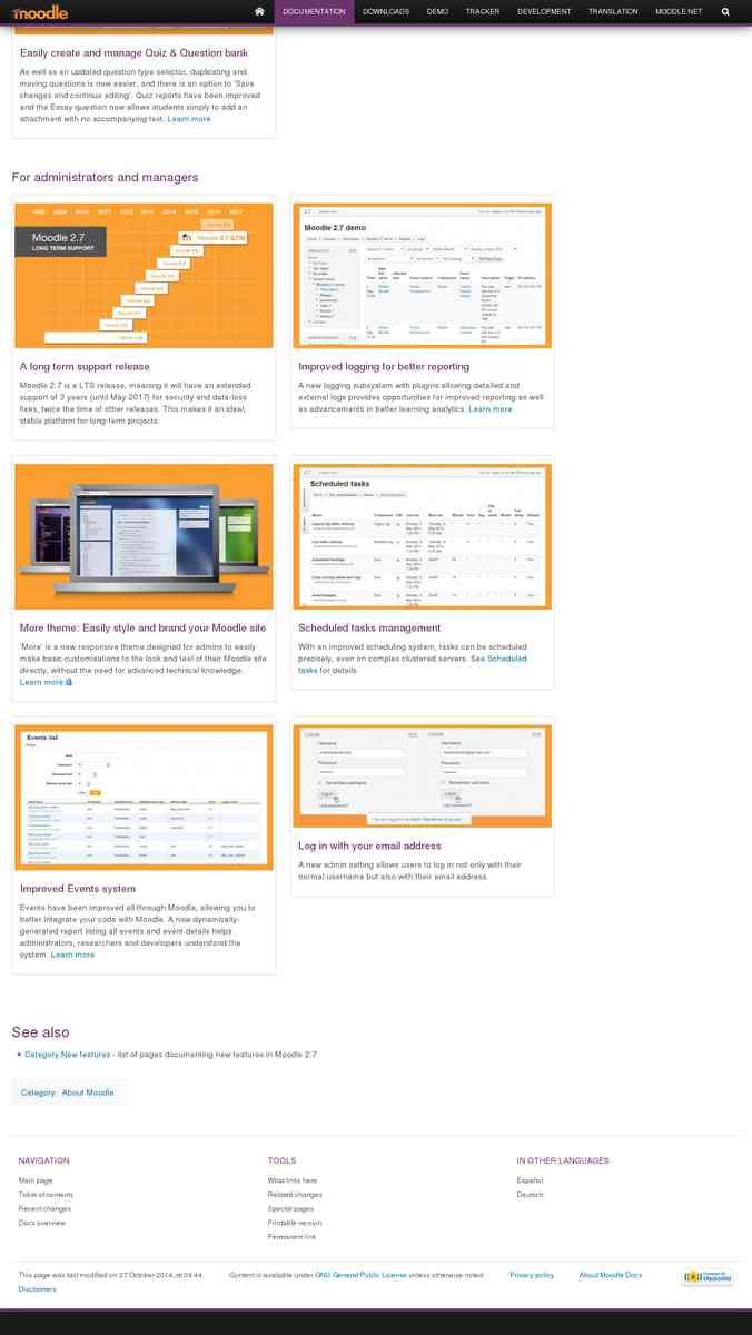 Moodle 2.7 New Features (from Moodle.org)