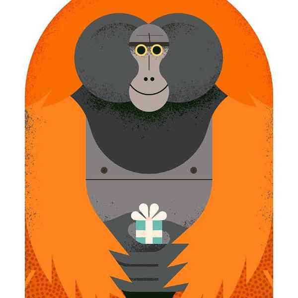 Birthday orangutan card
