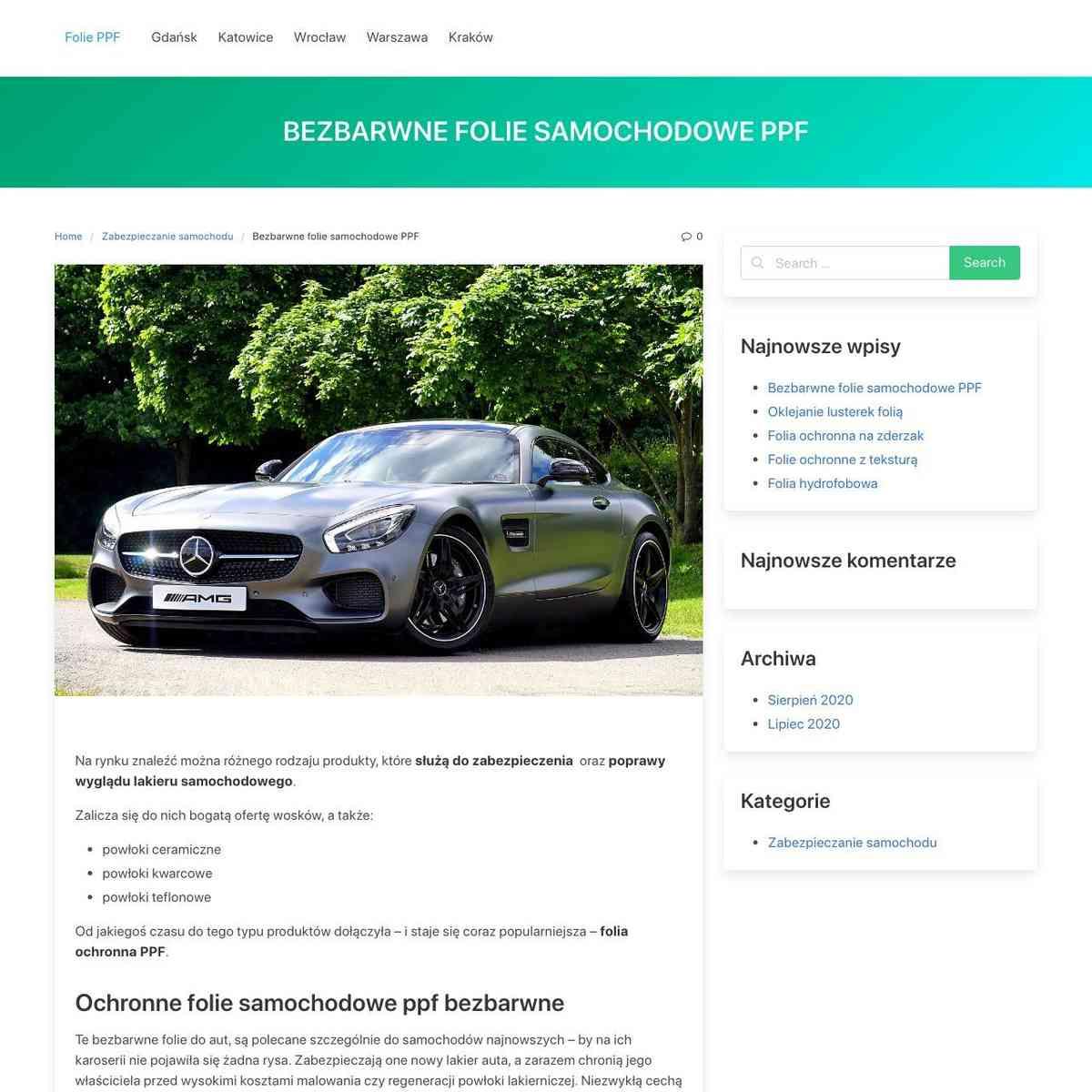 Bezbarwne folie samochodowe PPF – Folie PPF