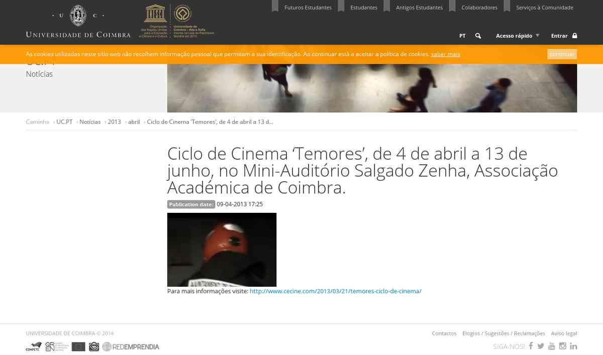Tome Nota: Ciclo de Cinema 'Temores', de 4 de abril a 13 de junho, no Mini-Auditório Salgado Z…