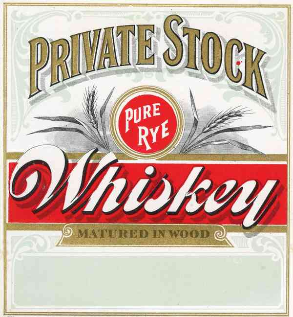 PRIVATE STOCK Pure Rye WHISKEY Label || Matured in Wood, Vintage – TheBoxSF