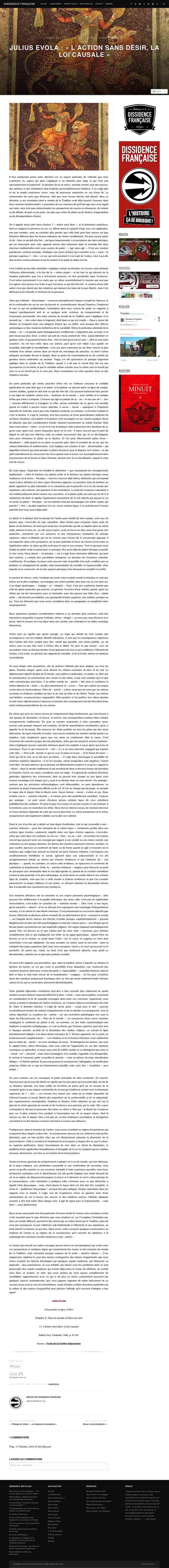 Julius Evola : «L'action sans désir, la loi causale | «Dissidence Française