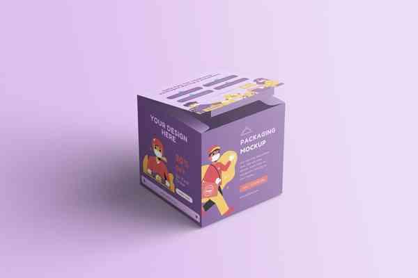 $ Cube Box Packaging Mockup