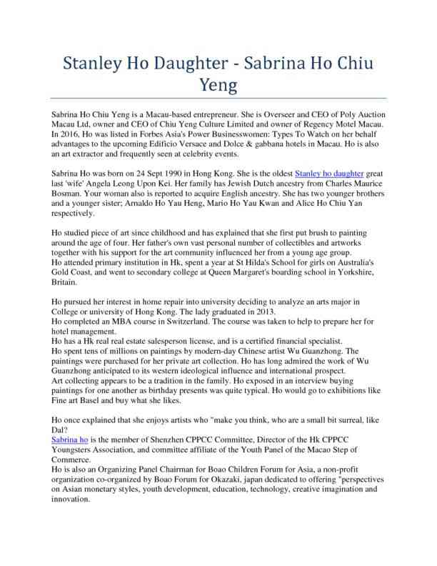 Stanley Ho Daughter - Sabrina Ho Chiu Yeng