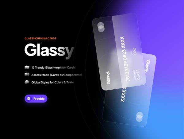 Glassy. Trendy Glassmorphism Cards