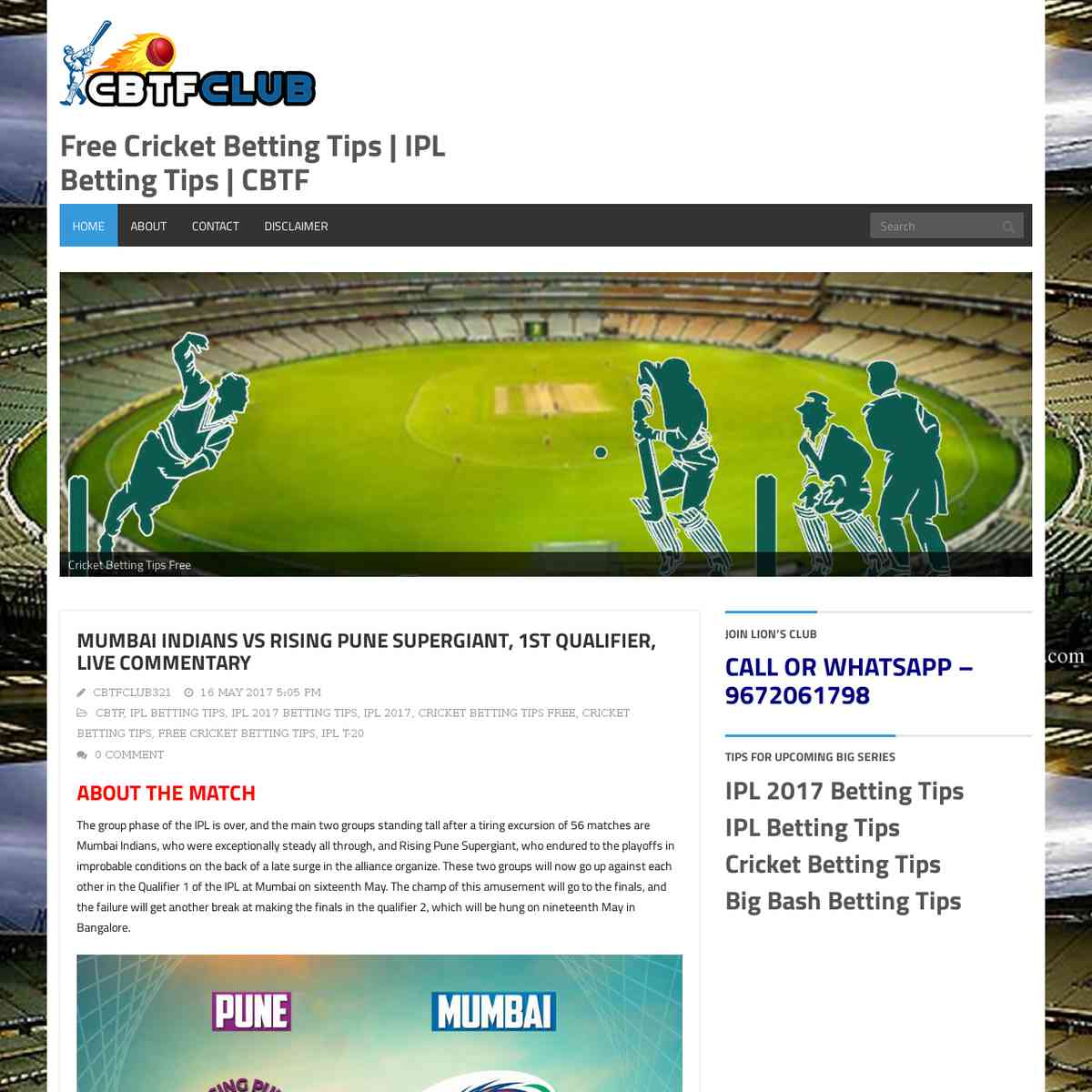 free betting tips cricket home