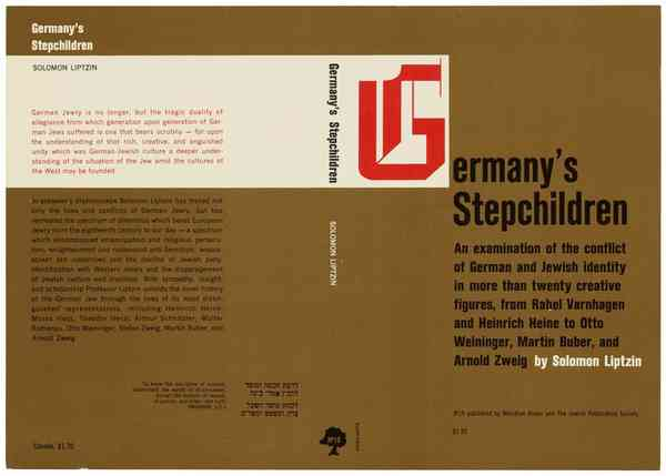 Germany's Stepchildren by Solomon Liptzin, Meridian Books and Jewish Publication Services - Fonts…