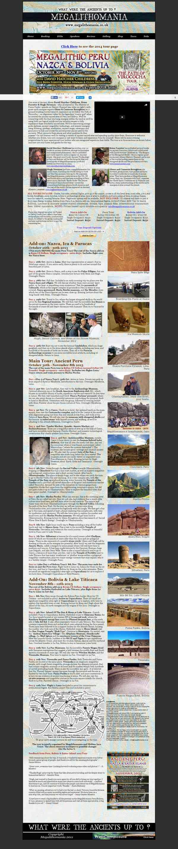 Megalithomania Peru, Nazca & Bolivia Tour November 2013