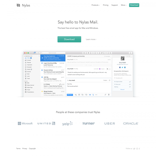Nylas Mail - The best free email app   Nylas - The best free email app