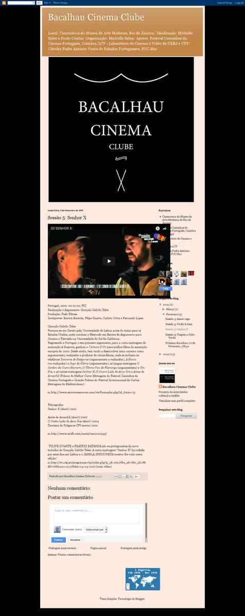 Sessão 5: Senhor X | Bacalhau Cinema Clube