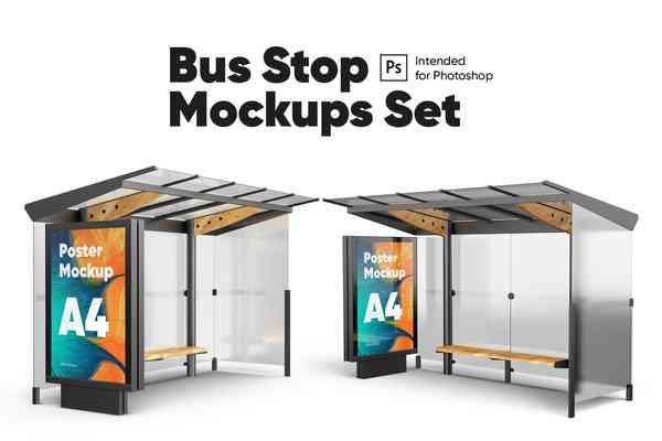 $ Poster (Bus Stop) Mockups Set