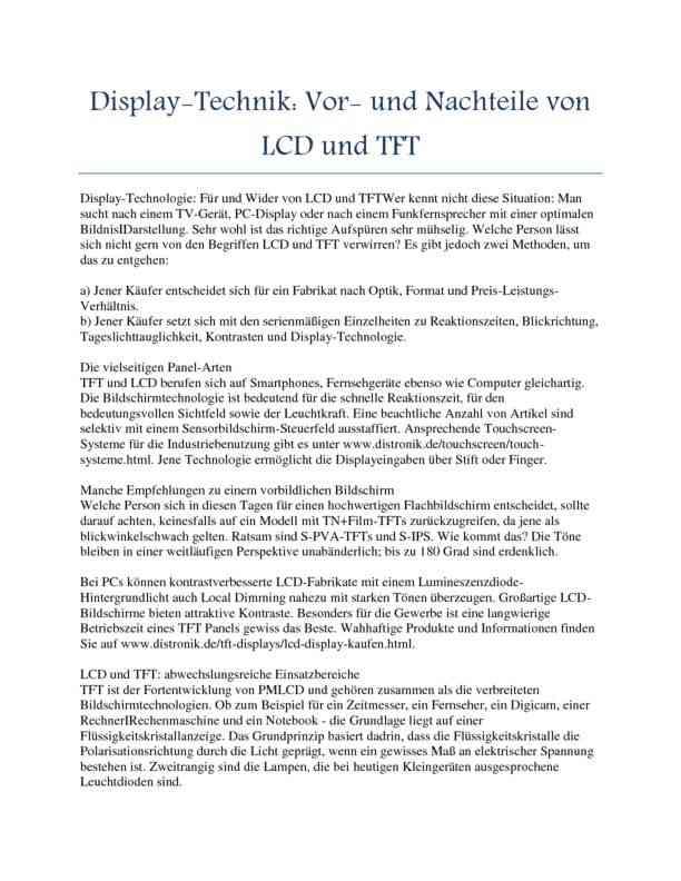 Display-Technik - Vor- und Nachteile von LCD und TFT