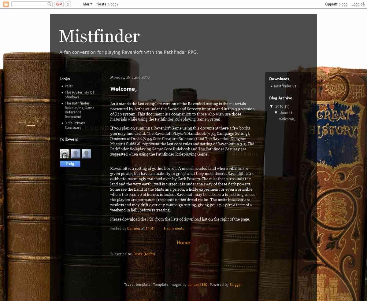 hack - PF Mistfinder (Ravenloft)