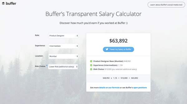 Buffer's Transparent Salary Calculator