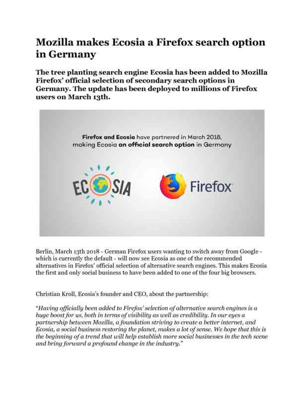 March 2018 Mozilla makes Ecosia a Firefox search option in Germany