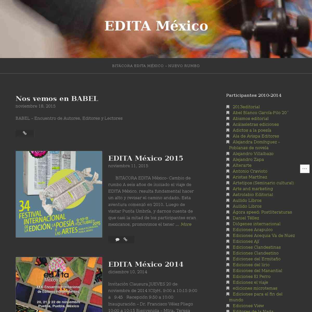Del 21 al 23 de noviembre de 2013. Edita México. XXVII Encuentro Internacional de Editores Independi