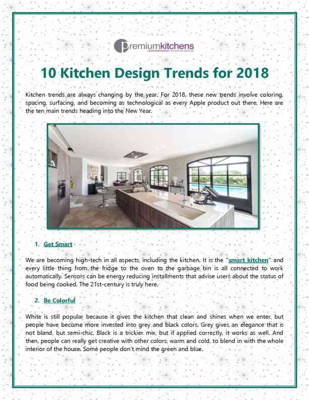 10 Kitchen Design Trends for 2018