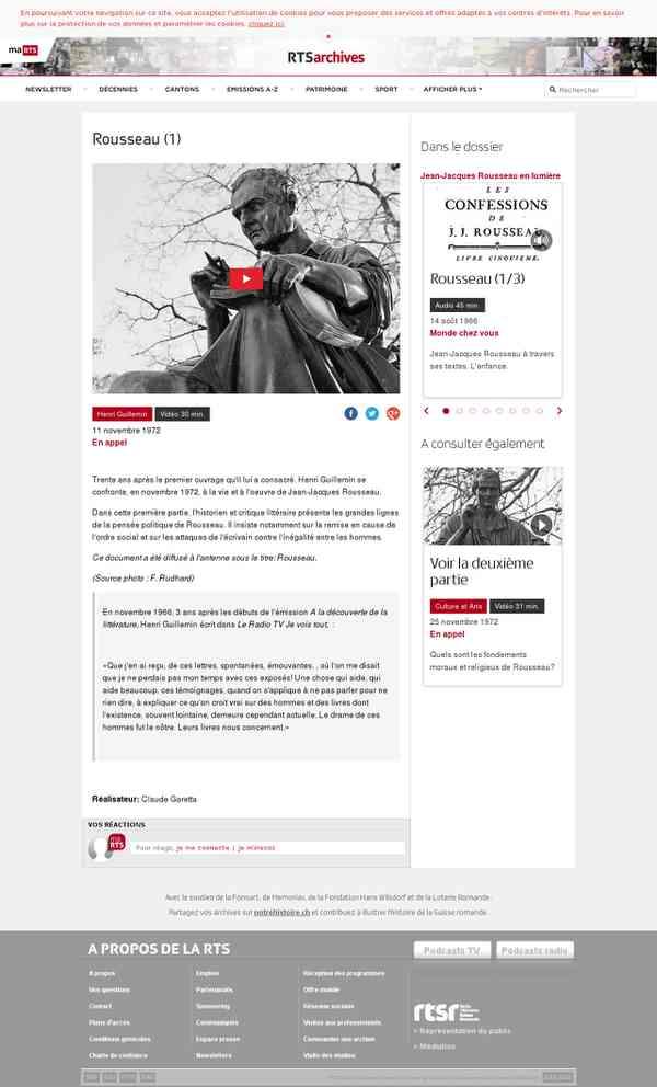 Rousseau (1) - rts.ch - archives - télévision - culture - en appel