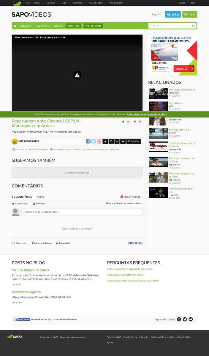 Reportagem CCP XIX - Morangos com Açúcar | Ante-Cinema