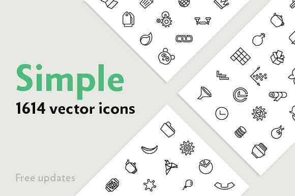 Simple — 1614 Line Icons Bundle