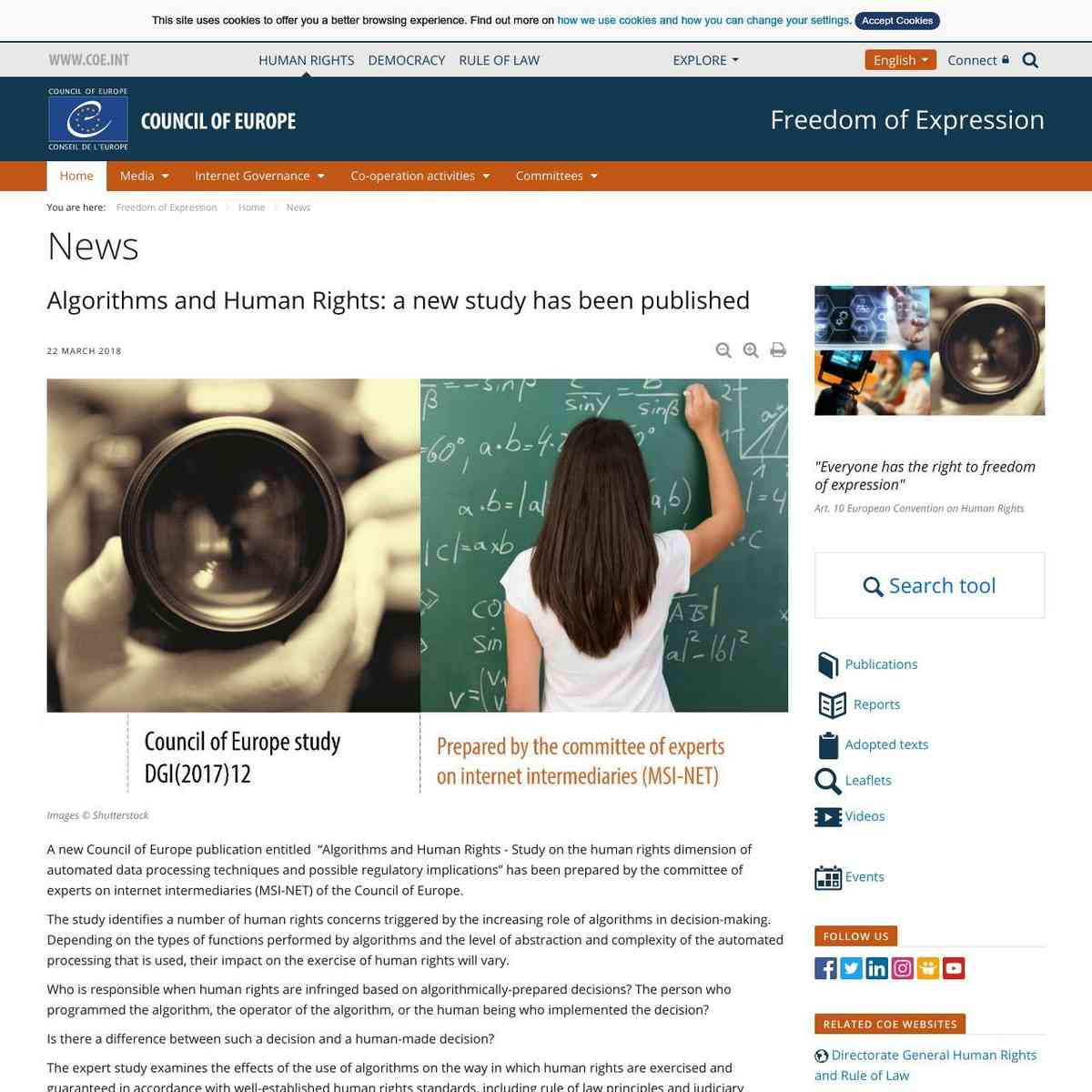 Algorithms and Human Rights: a new study has been published - News