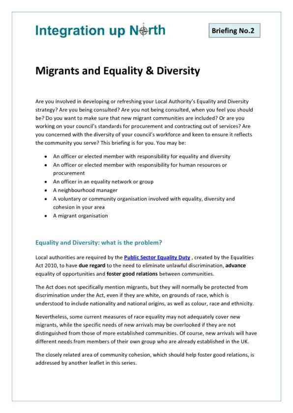 Briefing 2 - Migrants and Equality & Diversity