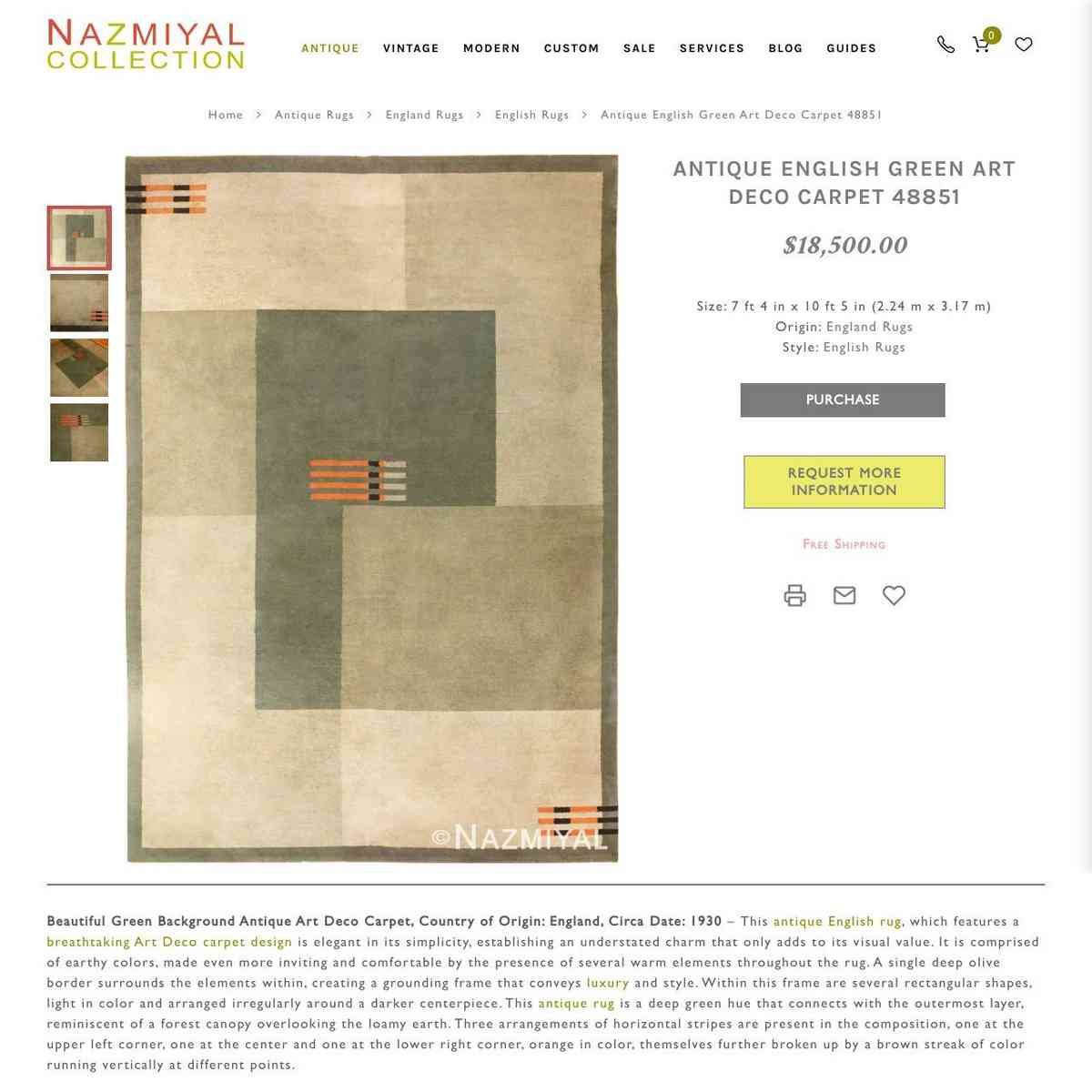 Antique English Green Art Deco Carpet 48851 Nazmiyal Antique Rugs