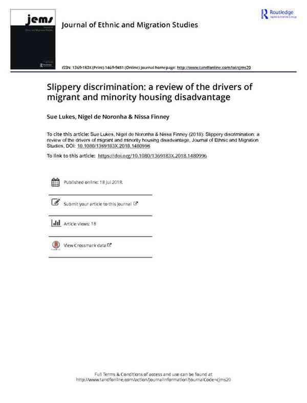 Slippery discrimination a review of the drivers of migrant and minority housing