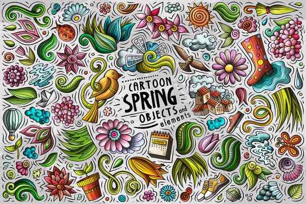 Spring Cartoon Objects Set